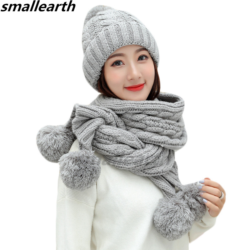 2 Pieces Set New Winter Pompom Hat And Scarf Set For Women Girls Cotton Warm Caps Female Winter Casual Solid Color Knitted Hats