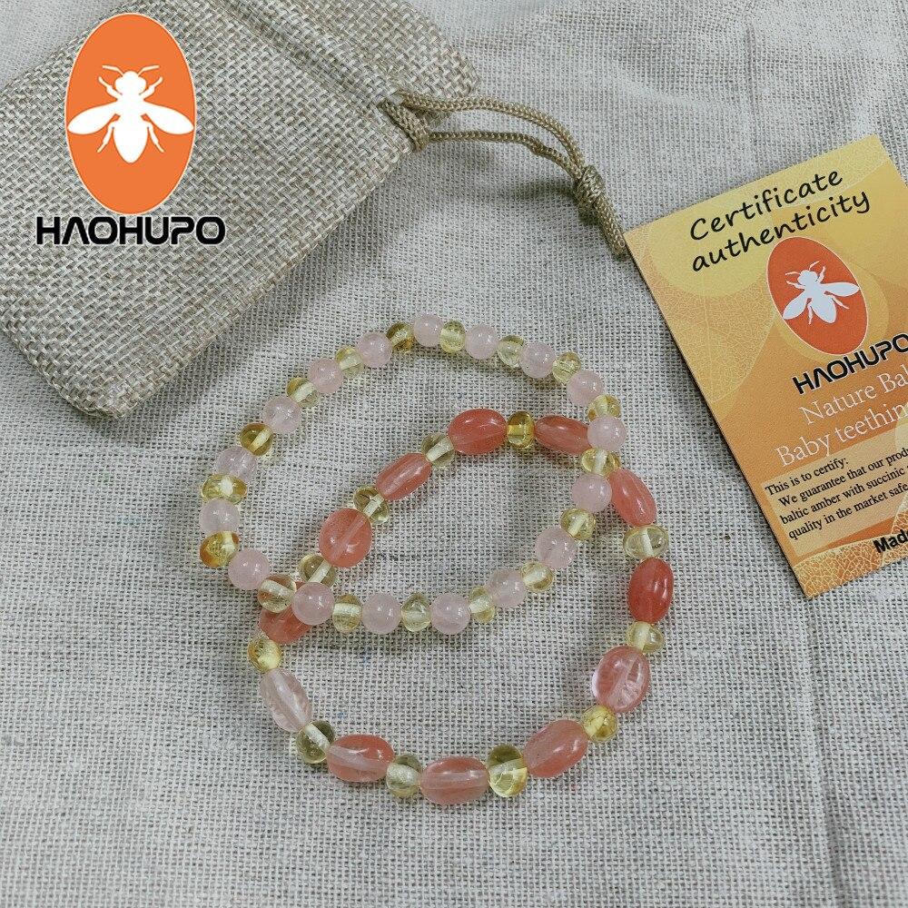 168c490bce74 Cheap HAOHUPO ámbar pulsera elástica para bebé adulto de la joyería regalos  cuentas de ámbar del