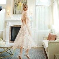 Новое Кружевное газовое платье с вышивкой летнее сказочное платье с кисточками