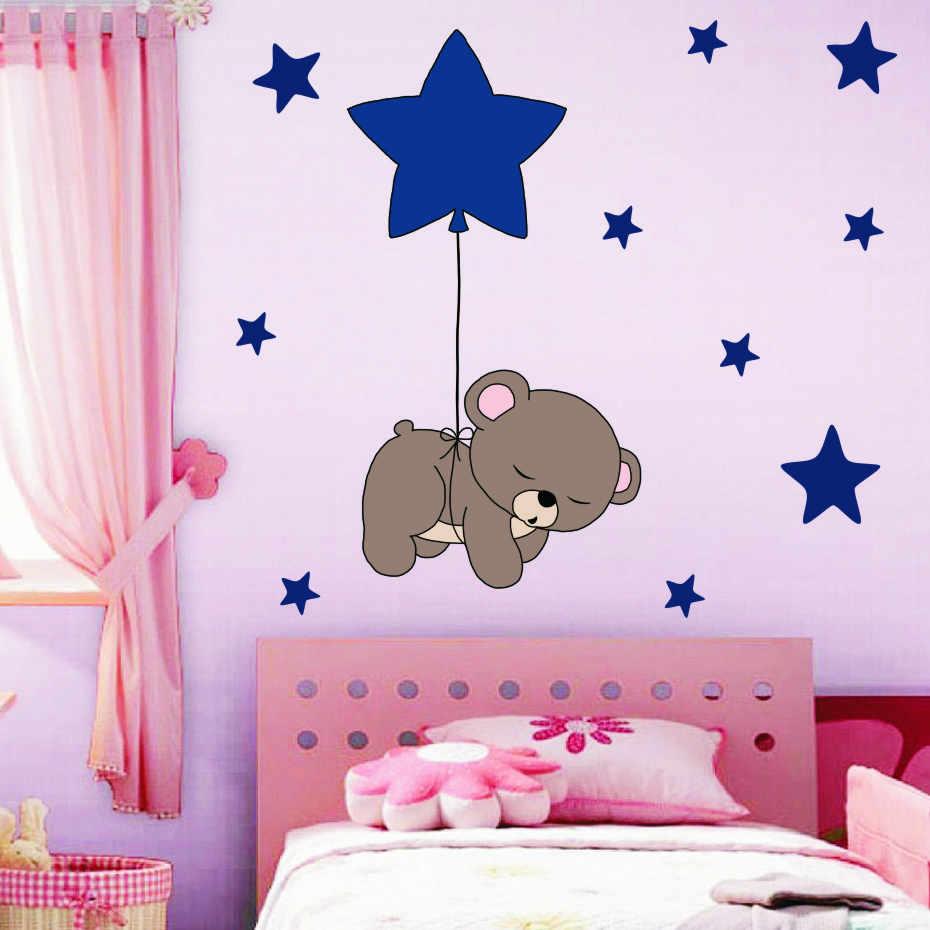 Lucu Cukup Tidur Beruang Dengan Stiker Dinding Bintang Anak Anak Kartun DIY Seni Vinil Stiker Dekorasi Rumah Mural Wallpaper