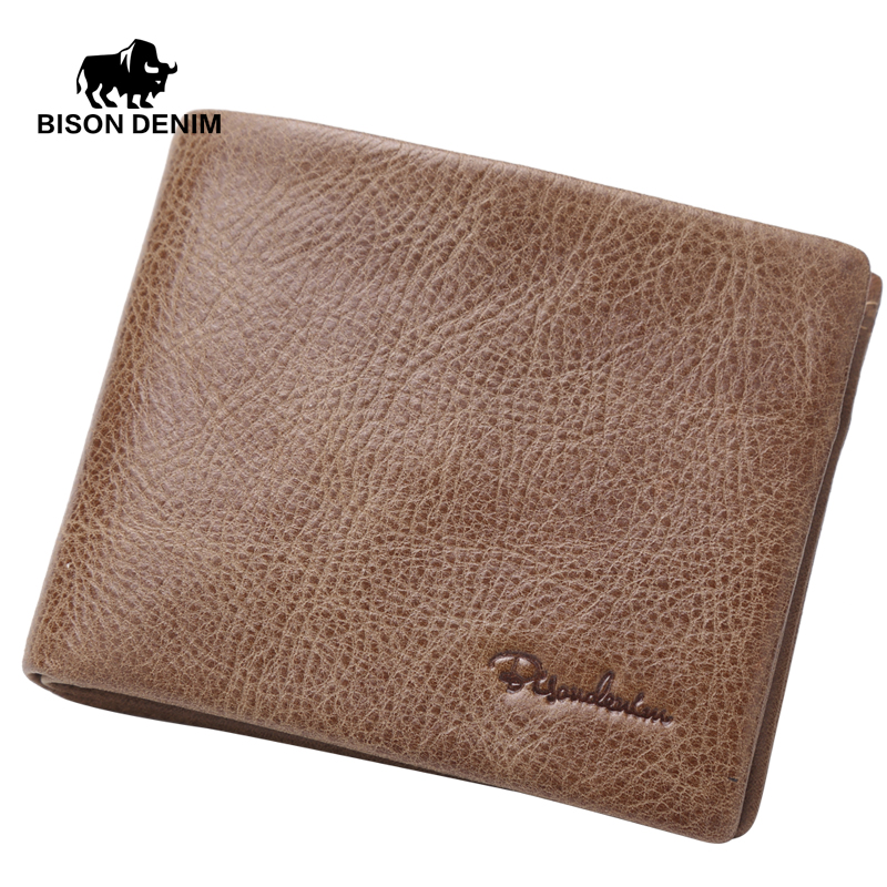 цены  BISON DENIM Khaki vintage Genuine Leather Wallet For Men designer purse brand money bag quality guarantee N4393-3Z