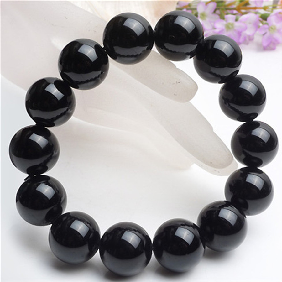 Genuine Natural Black Tourmaline Crystal Bracelets Stretch Powerful Stone 8mm 10mm 12mm 14mm 16mm 18mm Round Beads (1)
