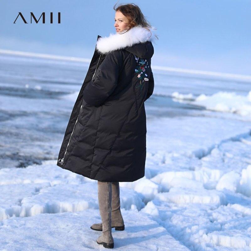 Amii Minimaliste 90% Vers Le Bas Veste Femmes Hiver 2018 Causal De Mode Broderie Poches De Fourrure À Capuchon Vers Le Bas Manteau Doudoune