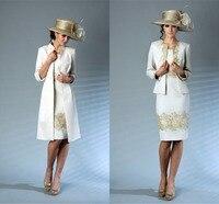 По колено для матери невесты Платья для женщин золото Аппликации Элегантный Брючные костюмы для женщин Новое поступление 2018 Vestidos De Novia Бесп