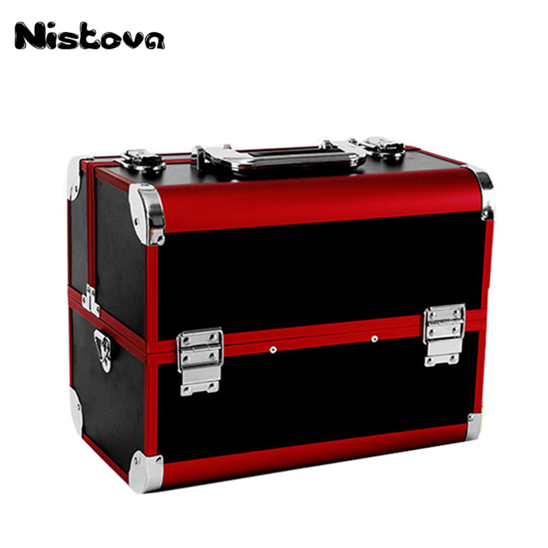 New Professional Large Capacity Aluminum Alloy Cosmetic Box Portable Double Open Multilayer Cosmetic Box Multi function Toolbox