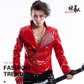 leather red jacket coat singer rivet outfit Performing arts star bar theatrical costumes bar singer custom apparel nightclub