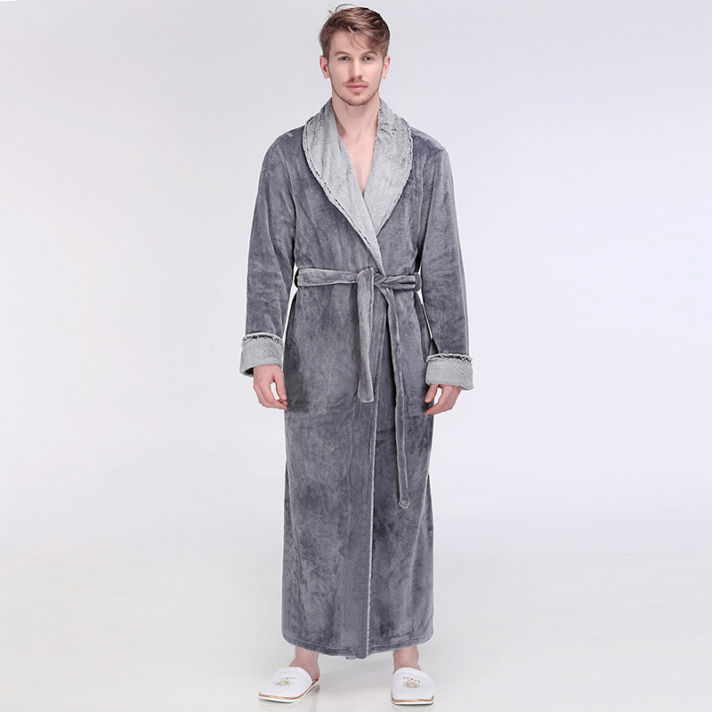 Casual Couple Bathrobe Gown Lounge Nightgown With Belt Winter New Lovers Warm Flannel Robe Kimono Sleepwear Thick Home Clothes