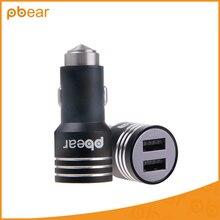 Pbear Mini Auto Micro anillo de metal de aleación De Aluminio Universal Dual USB Dos Puertos cargador de coche Para el iphone/Samsung/Huawei/Xiaomi