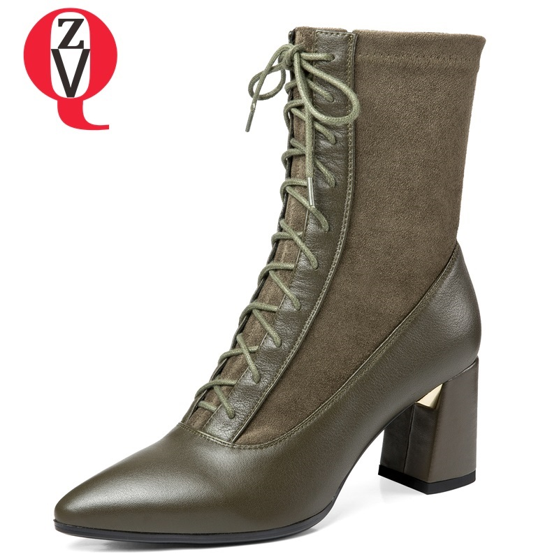 ZVQ women shoes 2018 new fashion sexy pointed toe genuine leather and faux suede high square heel lace-up office mid calf boots wedge heel faux suede mid calf sock boots