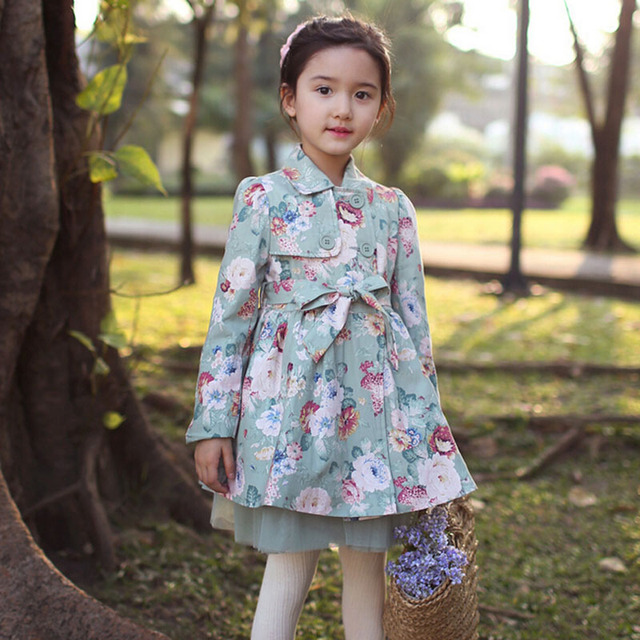2016 New Trench Coat Girls Flower Girls Jackets And Coats Spring Fashon Manteau Enfant Princess Girls Trench Coat
