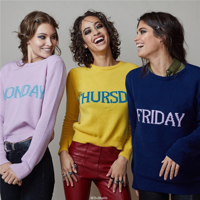 2019 Autumn Winter Women Sweater Newest Fashion Day Of The Week Brand Designer Runway Sweater Knitted Warm Pullover Sweater