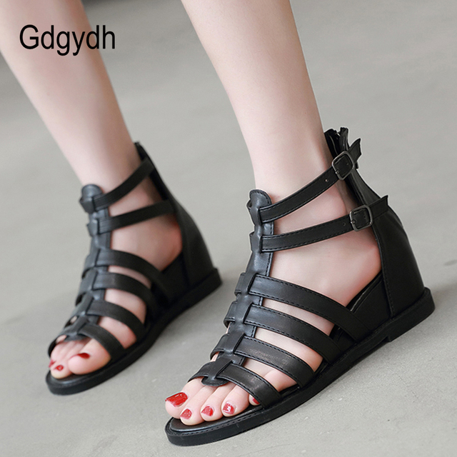 Rome Sandals Woman Open Toe Black Leather Punk Gothic Shoes