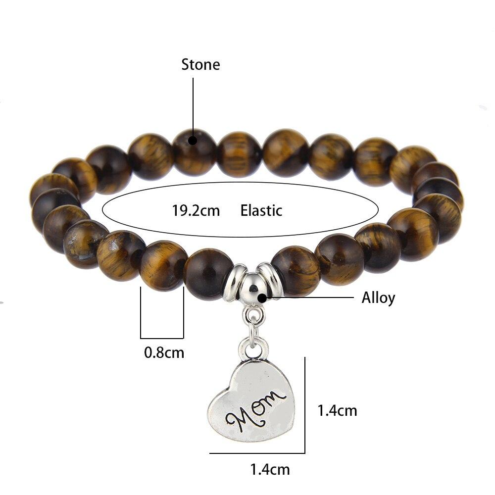 I Love You Mom Bead Bracelet Women 2019 New Jewelry for Mum Natural Stone Charm Bracelet Mother's Day Gift Family Bless Bracelet 20
