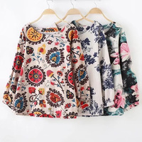 Plus Size 4XL Flower Print Cotton Linen Women Loose T Shirts 2017 Casual Ladies O Neck