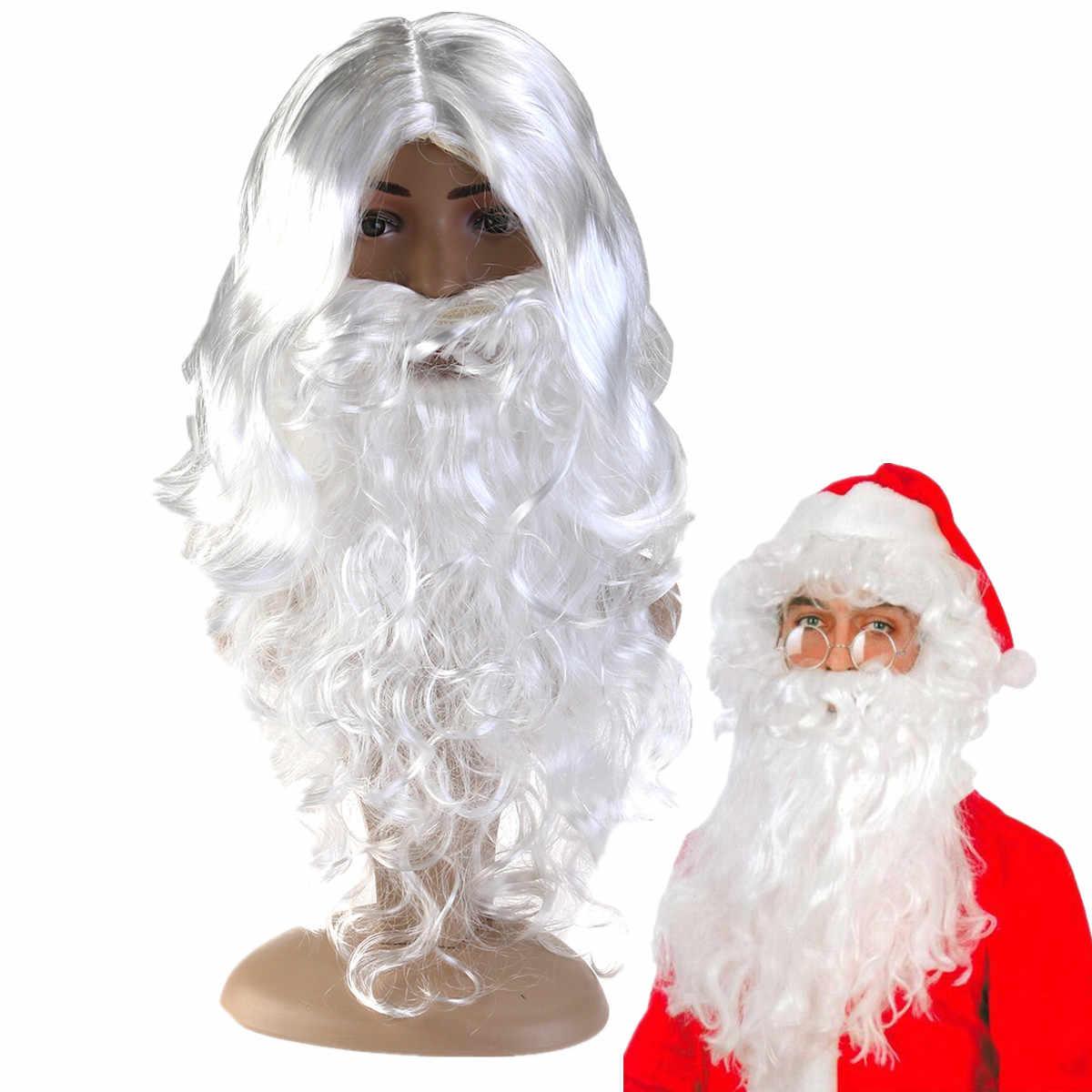 ใหม่ปี Deluxe สีขาว Santa เครื่องแต่งกายชุดแฟนซี Wizard วิกผมและเคราชุดคริสต์มาสฮาโลวีน