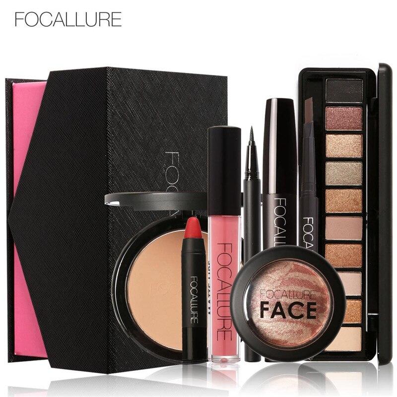FOCALLURE 8 stücke Kosmetik Make-Up Set Pulver Augen Make-Up Augenbraue Bleistift Volumen Mascara Sexy Lippenstift Rouge Werkzeug Kit für Täglichen verwenden
