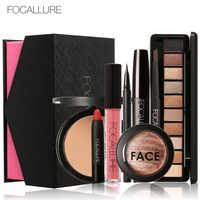FOCALLURE 8Pcs Kosmetik Make-Up Set Pulver Augen Make-Up Augenbraue Bleistift Volumen Mascara Sexy Lippenstift Rouge Werkzeug Kit für Täglichen verwenden