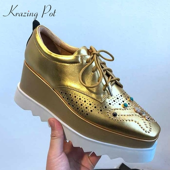 Goldene Keilschuhe | Krazing Topf Vintage Britischen Preppy Stil Nieten Perlen Aus Echtem Leder Karree Diamanten Gold Farbe Casual Oxford Schuhe L18