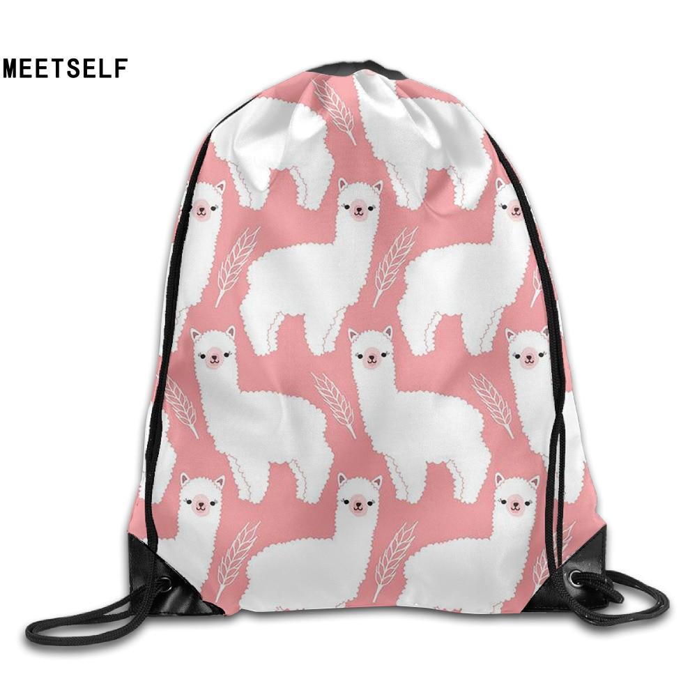 Samcustom 3d Print Cute Alpaca Shoulders Bag Women Fabric Backpack Girls Beam Port Drawstring Travel Shoes Dust Storage Bags