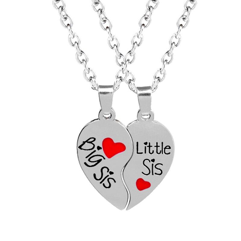 SIS Grande Hermana para siempre collar en forma de corazón rojo ...
