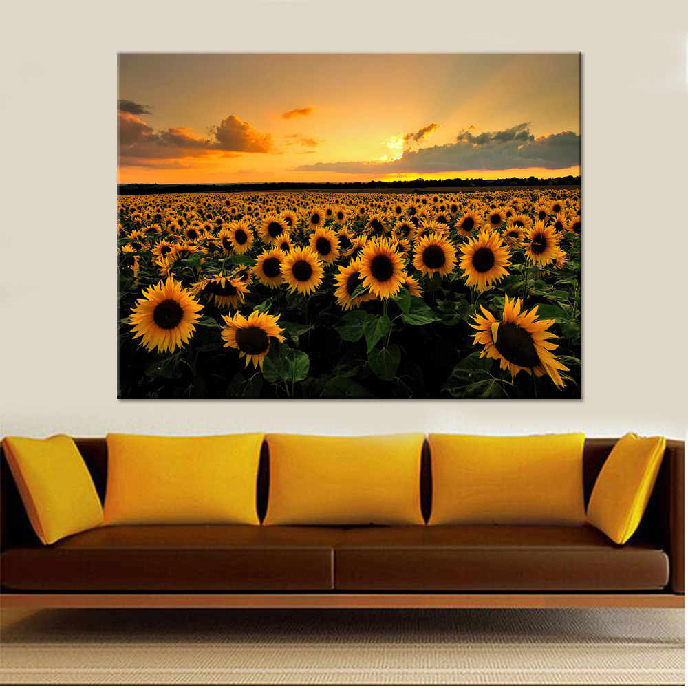 Painting On The Wall Decorative 1 Piece Sunset Beautiful Yellow Sunflowers Field Poster Canvas Printing Type Style Picture