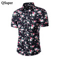 2017 New Men Floral Shirts Short Sleeve Plus Size 5XL Summer Flower Print Cotton Slim Fit Luxury Brand Casual Hawaiian Shirts