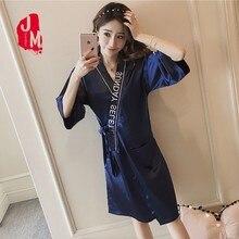 Ladies Silk Robe Sexy Satin Half Sleeve Bathrobe Solid Bride Kimono Bridesmaid Robes Women M L XL XXL