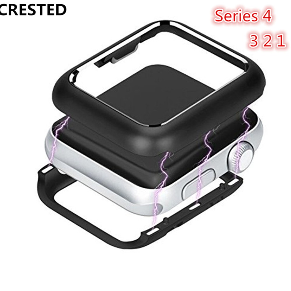 CRESTED metal case cover For Apple Watch series 4 44mm/40mm iwatch 3 2 1 42mm/38mm magnetic adsorption protective frame shell crested watch pc frame case protective case for apple watch 42 mm 38 mm series 1 2 colorful plating cover shell for iwatch