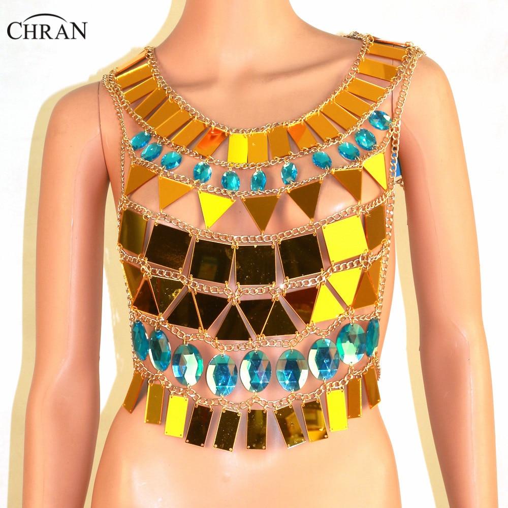 Chran or ton miroir Perspex haut court soutien-gorge chaîne licou collier corps Lingerie métallique maillot de bain bikini bijoux réservoir CRM102