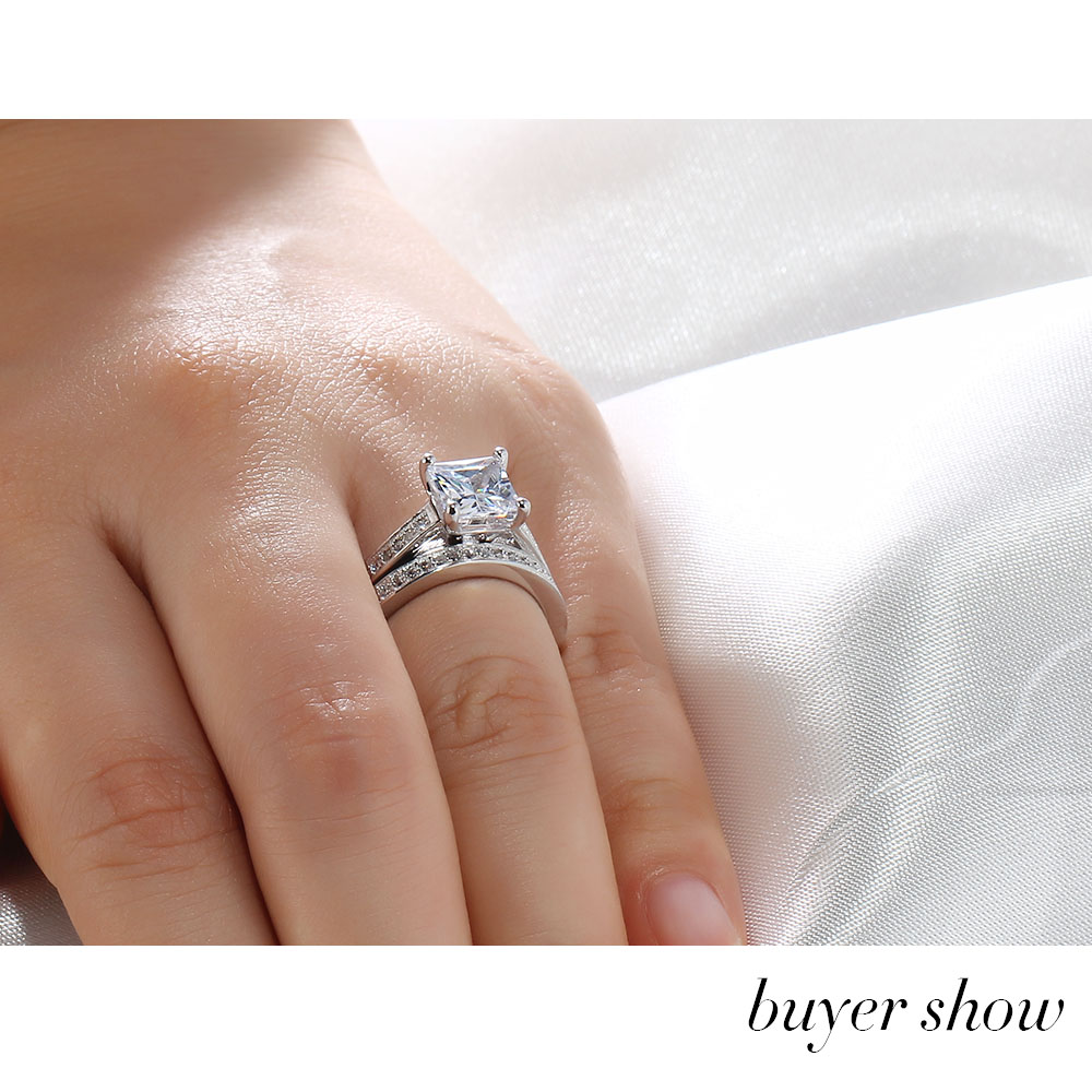 Personalized Engrave Ring Bridal Sets 925 Sterling Silver Square
