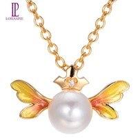 Lohaspie Z Litego 18 k Yellow Gold 8mm Naturalne Słodkowodne Pearl & Diamond & Żółty Anioł Skrzydło Wisiorek Dla Kobiet Perła Biżuteria