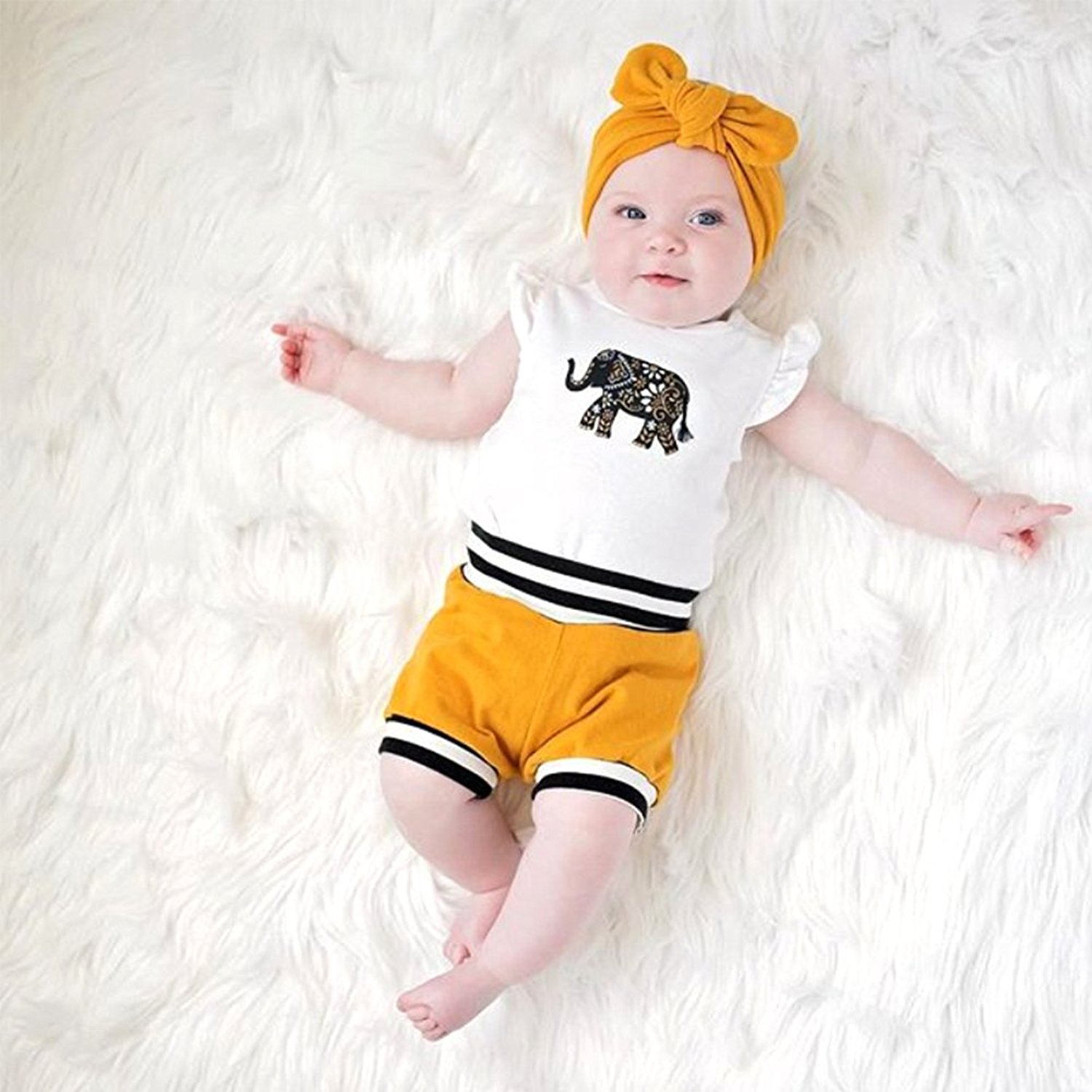 Oklady Infant Baby Boy Girl Elephant Romper and Short Pants with