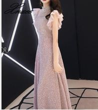 Dress female 2019 new temperament dress noble and thin simple generous banquet high-end ladies elegant