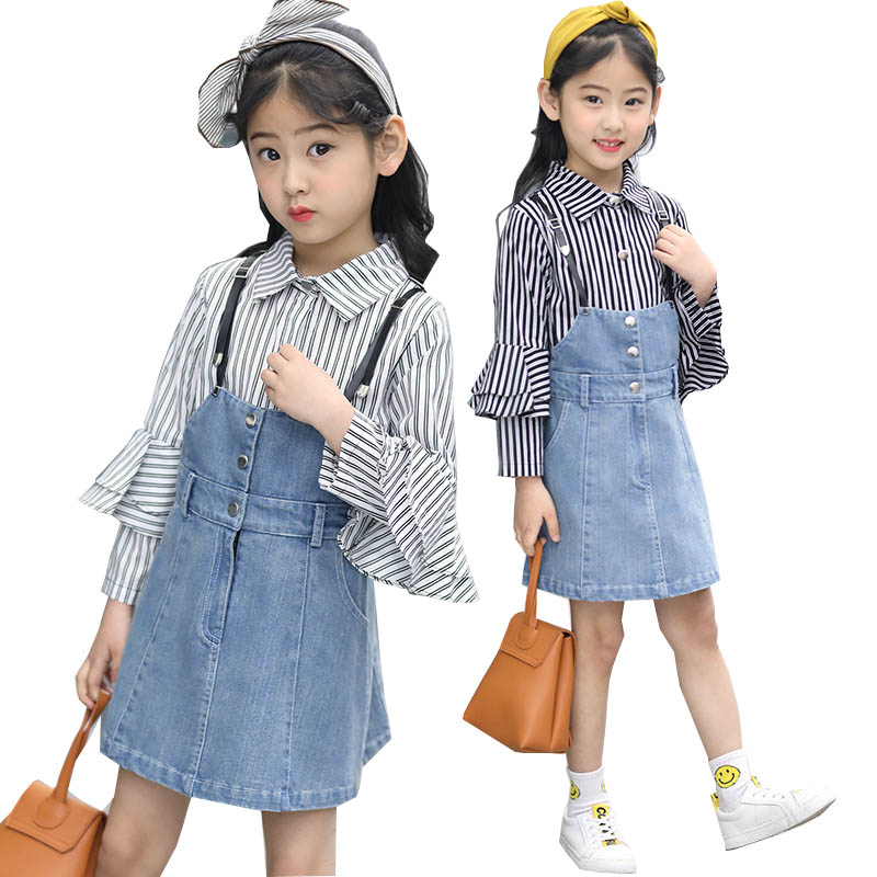 Girls Clothing sets 2018 Spring Girl Clothes Cotton Striped Shirt Jeans Skirt Dress Children Clothing Set Kids Clothes Tracksuit