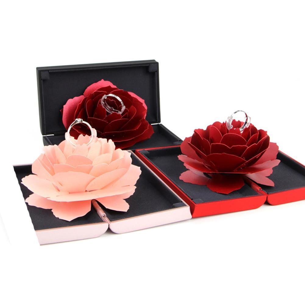 Einzigartige Pop Up Rose Hochzeit Engagement Ringe Box Überraschung Schmuck Lagerung Halter valentinstag Beste Geschenk Boxen Für Frauen