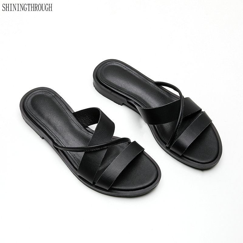 100 real Leather summer Shoes Woman flat slippers Flips Flops Low Heeled Casual Shoes Ladies Slippers