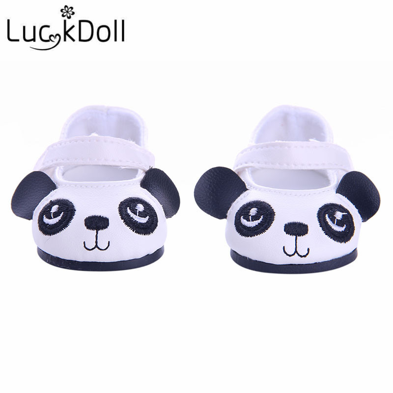 LUCKDOLL1 Double Cute Panda Shoes Fit 18 Inch American 43cm Baby Doll Clothes Accessories,Girls Toys,Generation,Birthday Gift