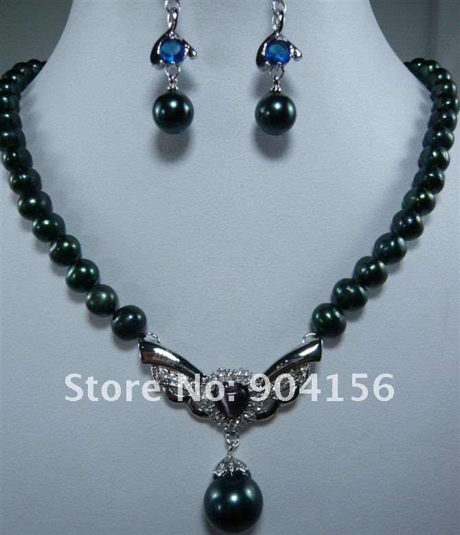 Black Pearl Pendant Necklace Blue Fashion Earring Jewelry