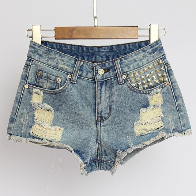 2017 Verão Buraco Do Punk Moda Meados de Cintura Shorts Jeans Rasgado calças de Brim Curtas Mulheres Do Vintage Buraco Rebite Curto Femme WSSL012