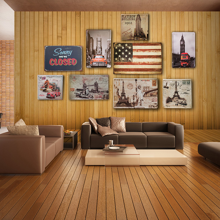 European Style Retro Metal Large Mural Living Room Restaurant Lounge Cafe Brick Wood Wallpaper Pattern In Wallpapers From Home Improvement On