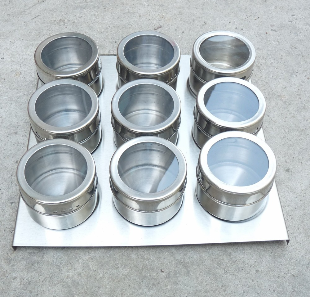 popular stainless steel canister set buy cheap stainless steel 9pcs magnetic spice jars magnetic cruet condiment spices set stainless steel condimento canister sauce bottle seasoning