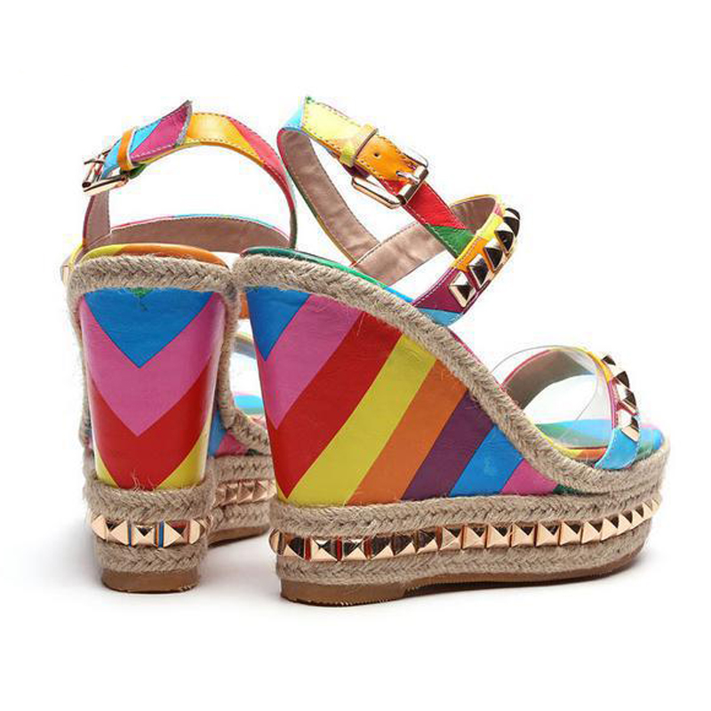 9887ce5d3759 TIMETANG Wedge Sandals Rainbow Ethnic High Heeled Leather Shoes Women Fish  Head Rivet Party Sandals Girls Glitter Platform C196-in High Heels from  Shoes on ...