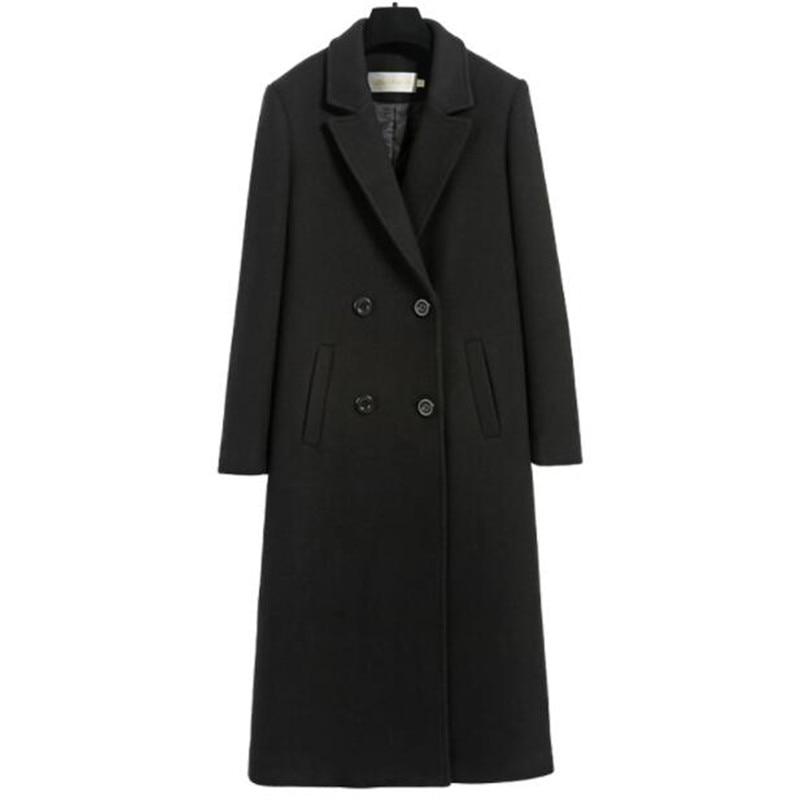 Laine Plus Vestes Colour Mode Manteau Femme Black Ms Femmes Longue As880 Mélange Double Casual La caramel Noir Boutonnage Manteaux Veste Taille De xfrfwagnq8