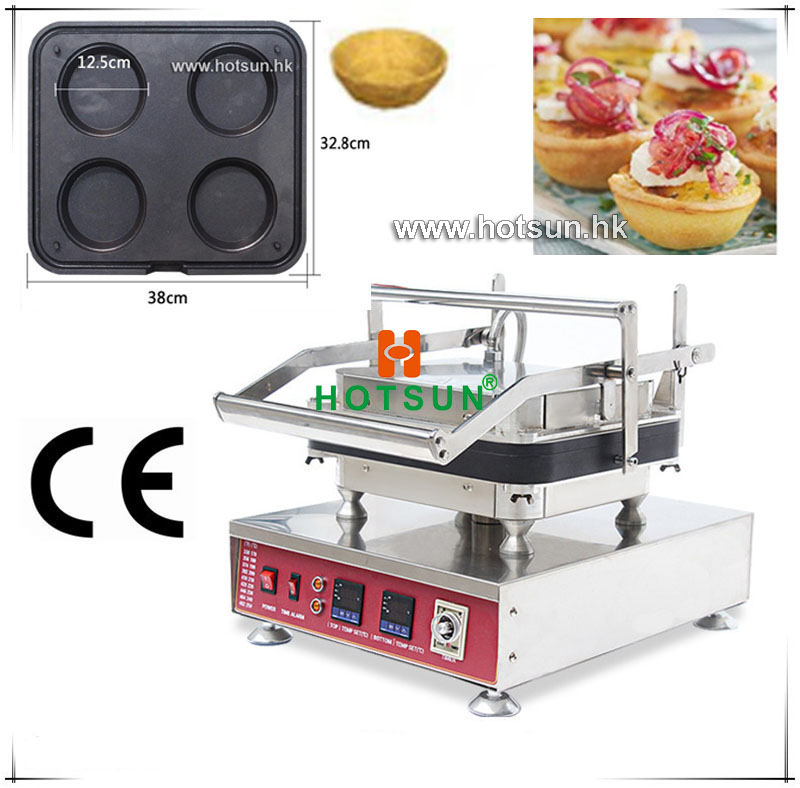 Free Shipping Heavy Duty Non-stick 110V 220V Electric 4pcs Circle Pie Fluted Egg Tart Pan Pot Maker Machine with Removable Plate commercial heavy duty non stick 220v electric ribbed
