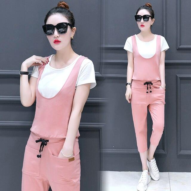 c85408a50265 New Summer Women Jumpsuits Set Korea Fashion Two-Piece Leisure White Shirt    Straps Jumpsuit Long Pants Slim Trousers Outfit XXL