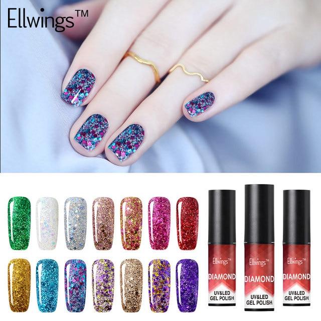 Ellwings Diamond Nail Gel Polish Glitter Nail Varnish Soak Off Shiny ...