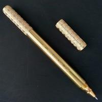New Gold Brass Pen Handmade Brass Pen Gift Metal Signature Pen Original Design Tactical Self-defense Copper Pen Box Pencil