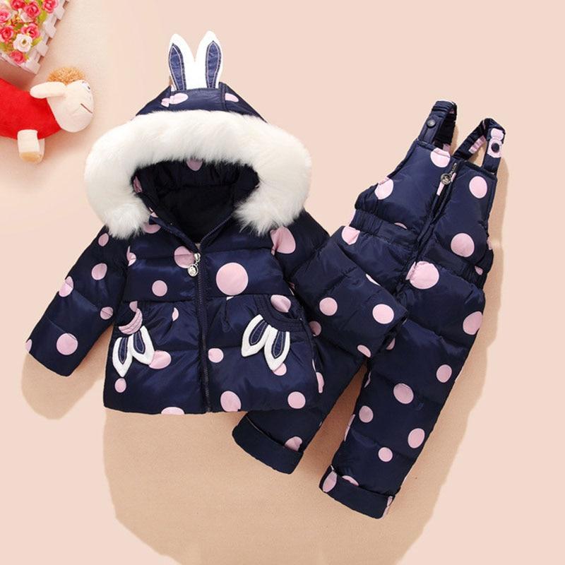 2018 Russia Winter Baby Girl Down Set Cute Rabbit Ear Dot White Duck Down Coat Jacket +Bib Pants 2 Pcs Ski Trousers Fit1-3T