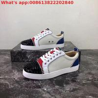 Wholesale Genuine Leather Casual Shoes Designer Sneaker Lace Up Patchwork Low Top Red Bottom Shoes For Men Women With Box