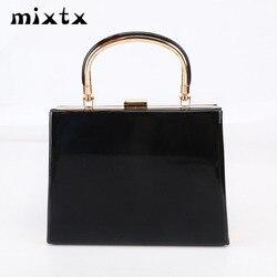 Mixtx 2019 nova mulher caixa bolsa brilhante saco do mensageiro lady party clutch banquete saco moda metal lidar com totes corrente crossbody